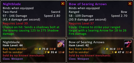 Nightblade and Bow of Searing Arrows